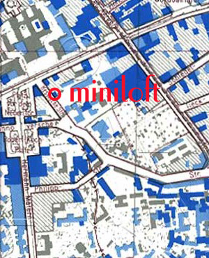 Hotel location in 1945 :: Dark blue indicates severe bomb damage