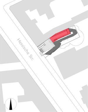 Hotel design :: The existing building marked in red